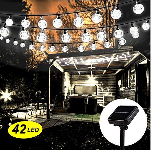 Solar Lichterkette Aussen,Mr.Twinklelight® 5.7M 42 LED Solar Lichterkette Außen, Wasserdicht Kristall Kugeln Solar Lichterkette Außen für Weihnachtsdeko|Garten|Terrasse|Haus|Party Kaltweiss