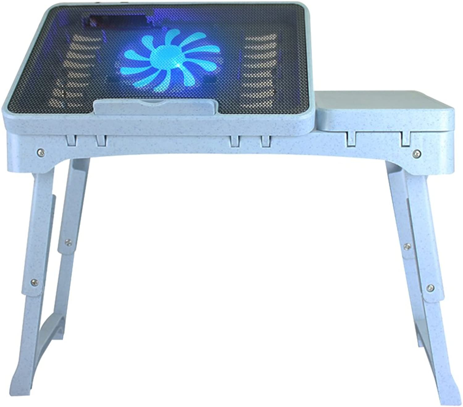 Laptop Table with Cooling Fan, Plastic Adjustable Notebook Table Stand for 17-inch Laptop Or Smaller (color   bluee)