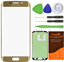 CrazyFire Gold Front Outer Lens Glass Screen Replacement For Samsung Galaxy S6 Edge SM-G920 G925A G925P G925T G925V G925R4 G925F With Tools Kit And Adhesive