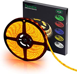 Water-Resistance IP65, 12V Waterproof Flexible LED Strip Light, 16.4ft/5m Cuttable LED Light Strips, 300 Units 3528 LEDs Lighting String, LED Tape(Yellow) Power Adapter not Included