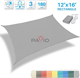 Patio Paradise 12' x 16' Light Grey Sun Shade Sail Rectangle Square Canopy - Permeable UV Block Fabric Durable Outdoor - Customized Available