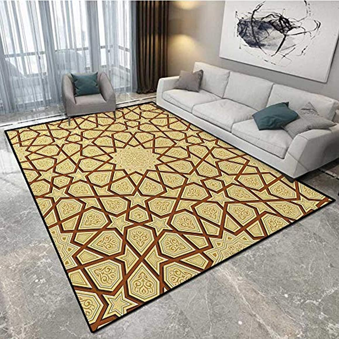 Antique Mini Carpet Cleaner Arabesque Star Shapes on Retro Design with Fractures Classic Eastern Building Carpet Runners Non-Skid 5'x7' (W150cm x L210cm Cream Brown