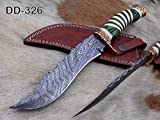 12' Long Damascus Steel Hunting Bowie Knife Hand Forged, Exotic Scale Crafted with Engraved Brass, Sliced Camel Bone and Wood W/Brass Spacer (Green)