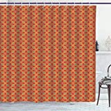 BLSYP Duschvorhang Polyester Shower Curtain/Ethnic, Vivid Oriental Inspired Repetitive Motifs, Apricot Dark Coral Shamrock Green and Burg&y/Bathroom Accessories Shower Curtain Set 72