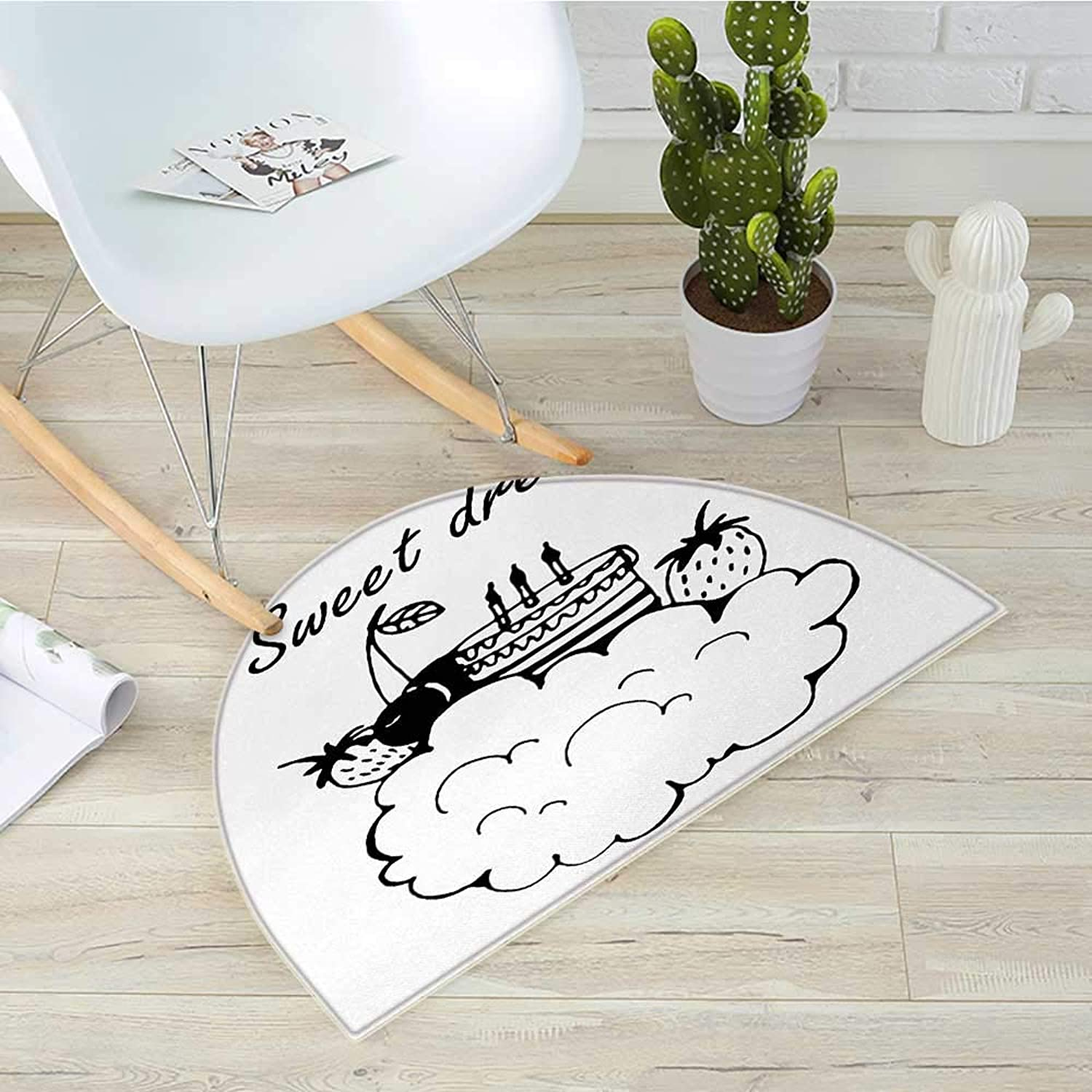 Sweet Dreams Semicircular CushionDoodle Style Birthday Cake with Berry Fruits on a Cloud Monochrome Design Entry Door Mat H 35.4  xD 53.1  Black and White