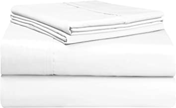 Pizuna Soft 500 Thread Count Queen Sheet Set, 100% Long Staple Cotton Hotel Quality Sheets Queen White, Cotton Satin Bed S...