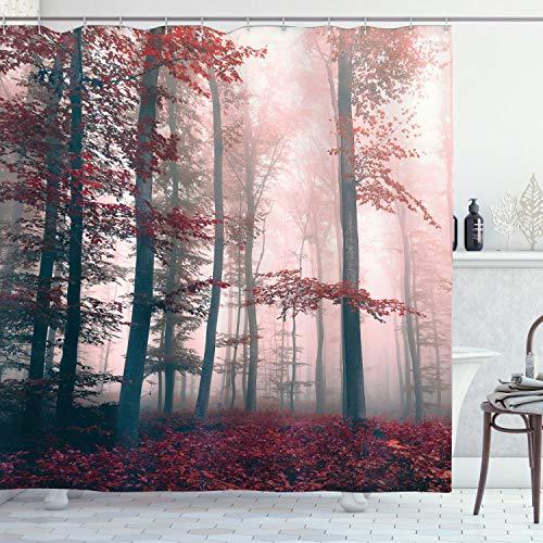 ABAKUHAUS Wald Duschvorhang, Herbst-Fall-Natur Woods, Digital auf Stoff Bedruckt inkl.12 Haken Farbfest Wasser Bakterie Resistent, 175 x 200 cm, Rot-Grau & Braun