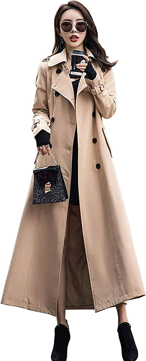 Women's Double Breasted Duster Trench Coat Slim Full Length Maxi