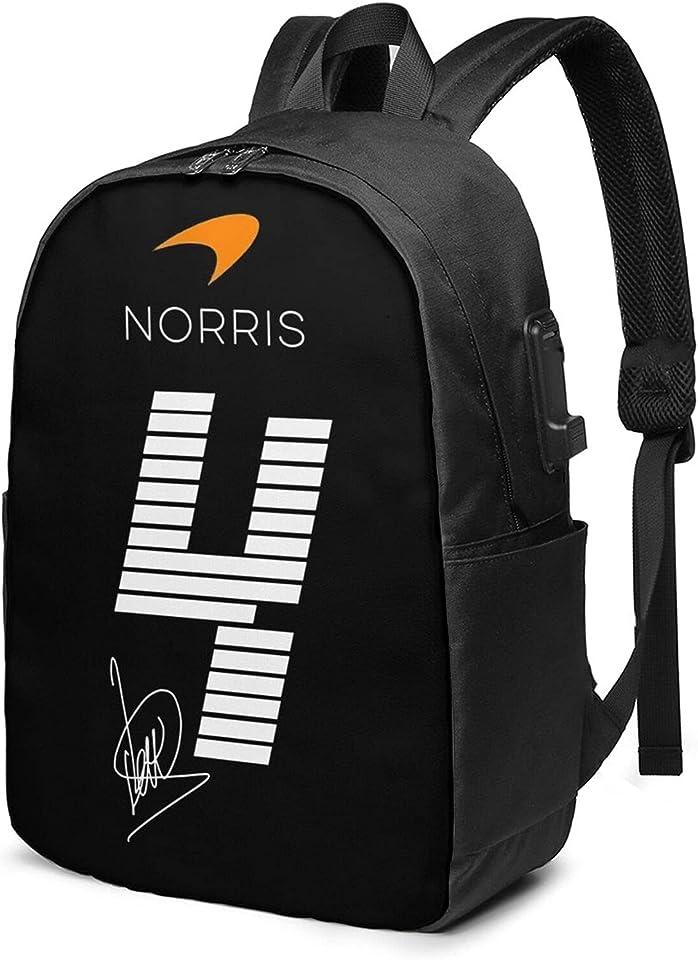 Lando Norris 4 USB Backpack 17 in,School Bags