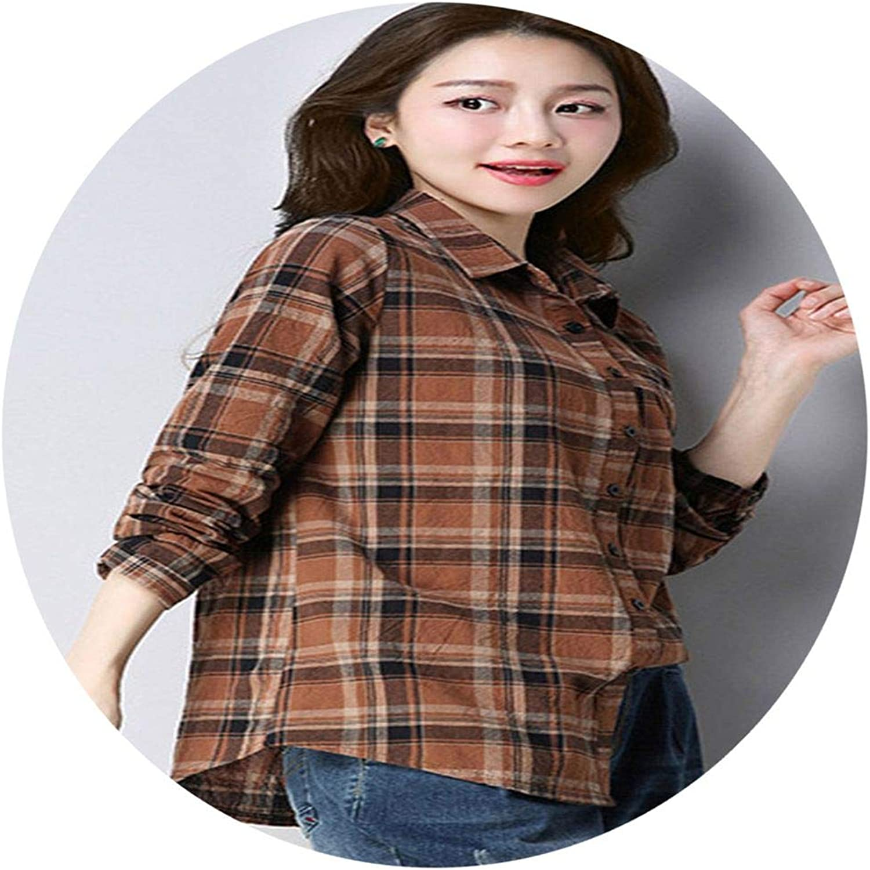 Piiuiy Yuik Ms Shirt Spring New Cotton Shirt Women Fashion LongSleeved Lapel Slim Lattice S