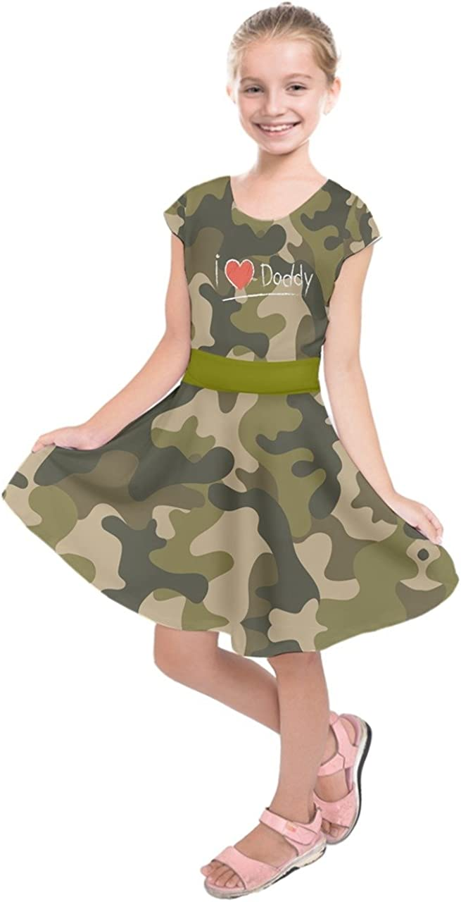 PattyCandy Girls Festive Christmas Outfit Heart Happy Father's Day Supper Daddy Dad & Xmas Lights Printed Skater Dress