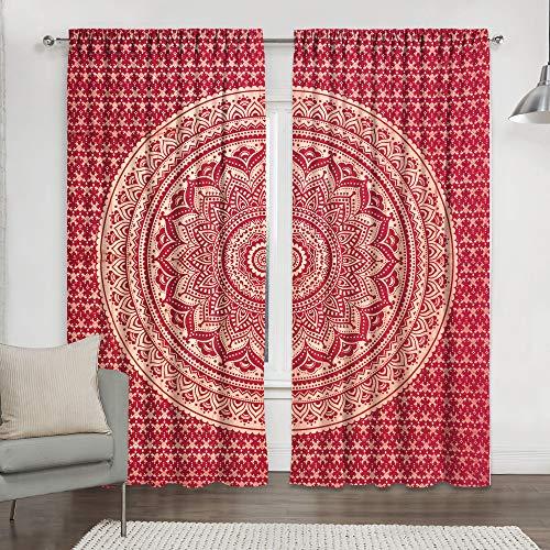Von Handicraft-Palace handgefertigter indischer Tür-/Deko-Vorhang aus Baumwolle für Fenster und Balkon im Pfauen-Mandala-Hippiestil.