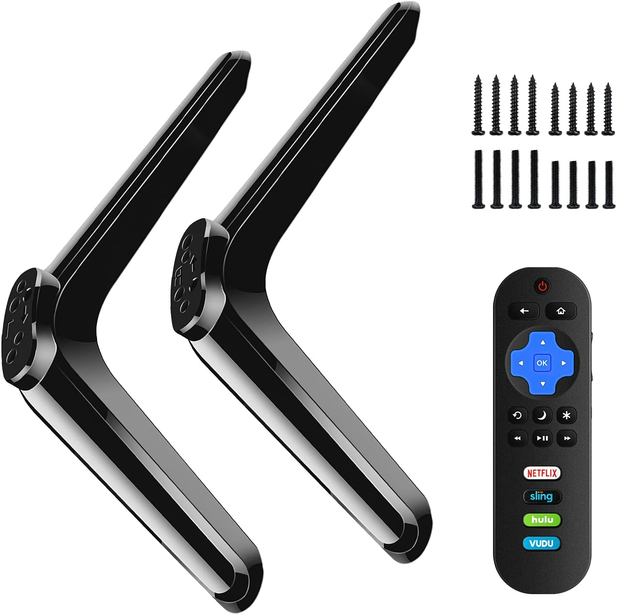 Base Stand fit for TCL Roku 32in Smart TV for 32S305 32S301 32S303 32S3800 32S4610R 32S3850 TV Stand Base and Universal Remote Control Replacement Compatible with All TCL Roku TV