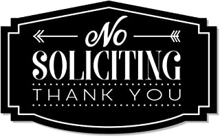 No Soliciting Thank You Sign for Home or Business | Laser Engraved on Stylish Material (Small, Black/White)