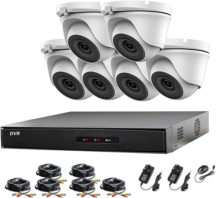 HIKVISION 8CH CCTV Kit DVR 1080P & 6X 2.0MP Full HD 1080P Blanco Cámara CCTV IR 20M Noche Vision Remote View Easy P2P Sistema de cámara de Seguridad