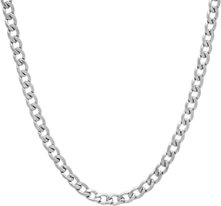 Durable Stainless Steel 4mm Cuban Curb Link Chain Necklace + Microfiber Jewelry Polishing Cloth