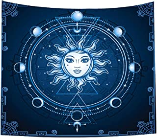 JMbeauuuty Tapestry Wall Hanging Psychedelic Wall Tapestry Sun Tapestry Wall Hanging Retro Indian Celestial Mystic Tapestry Hippy Bohemian for Bedroom Living Room Dorm Art Home Decor 51 x 59 Inch
