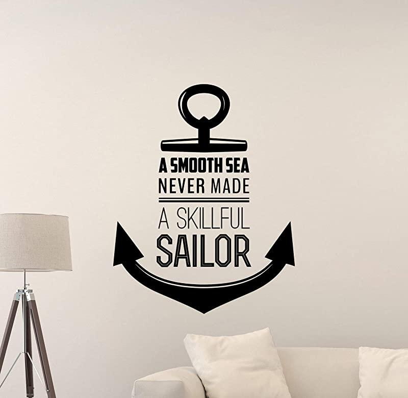 659ParkerRob Anchor Wall Decal A Smooth Sea Never Made A Skilled Sailor Sign Gift Poster Mural Vinyl Sticker Playroom Decor Kids Room Wall Art Print