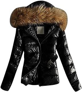 Doric Womens Winter Shiny Puffer Jacket with Fur Hood,Casual Plus Size Short Belt Down Jackets Outwear