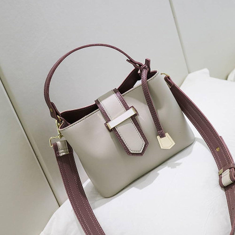YTTY Fight Farbe Tragbare Umhängetasche Stilvolle Messenger Eimer Tasche Einfache Wilde Handtaschen, Grau B078Z6QHFY  Feines Nähen