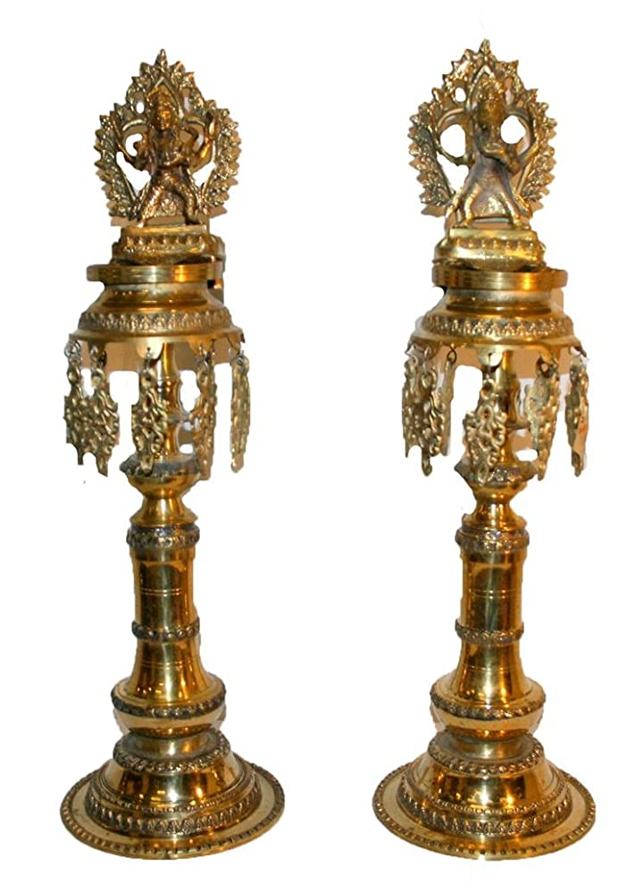 Agan Traders Bronze Oil Lamp(Panas) with Lord Ganesha & Lord Kumar[25 inches Tall] zskjchirx4154