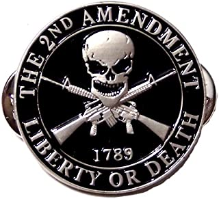 The 2nd Amendment Liberty Or Death Skull Gun Rights Lapel Hat Pin PPM7500