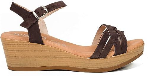 MiMaO Chaussures. Sandales en Cuir Made in Spain. Confort. Sandales Compensées Femme. Sandale Confortable avec Semelle Gel Ultra Moelleuse