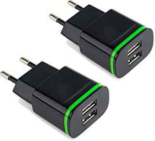 European Plug Adapter, USINFLY 2.1A/5V Europe Travel Power Adapter Dual USB Wall Charger Block for Phone Xs/Xs Max XR/X/8/7/6/6S Plus, Samsung S10 S9 S8, HTC, Moto, LG, More Android Phone (2-Pack)