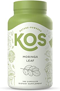 KOS Organic Moringa Oleifera Capsules 1000mg - High Potency 100% Pure Leaf Powder - Nutrient Rich, Energy Boosting - Raw, ...