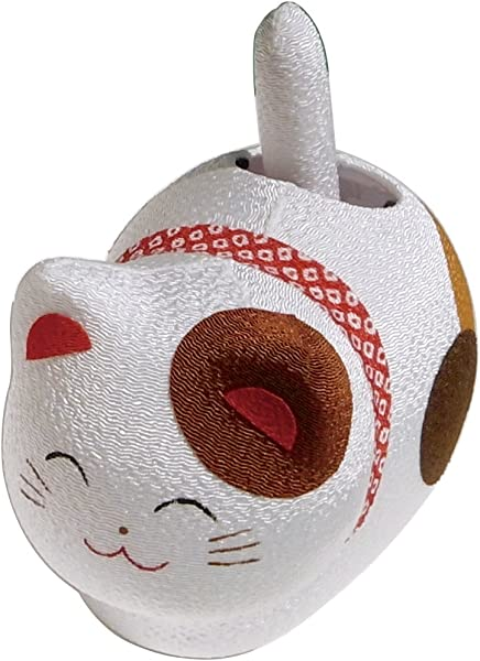 Chirimen Silk Jananese Mike Neko Calico Cat Solar Powered Maneki Neko