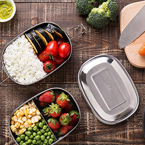 Bento Box, G.a HOMEFAVOR Stainless Steel 2-in-1 Lunch Box 33 oz, 2-Tier 3 Compartment Metal Bento Lunch Box, Food Container for Adults For School or Work
