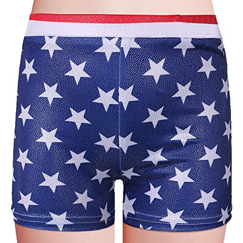 BAOHULU Girls Leotards for Gymnastics Blue American Flag Sparkle Spliced Athletic Dancewear