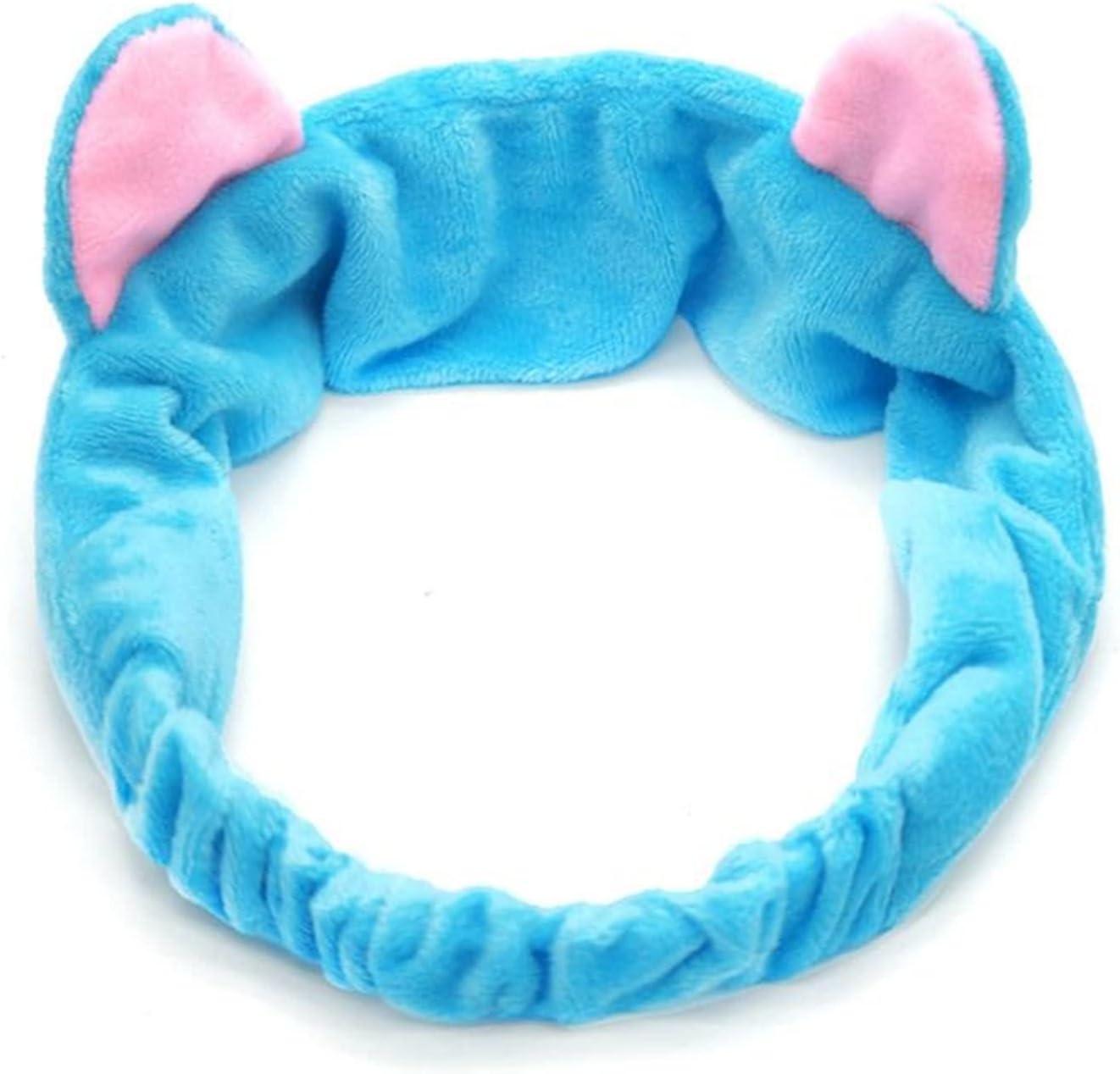 XIALIMY Hair Clips and Headbands Women's Face Wash Soft Coral Fleece Soft Headband Cute High Stretch Creative Animal Ear Makeup Portable Bath SPA Hair Accessory (Color : 04, Size : Free Size)