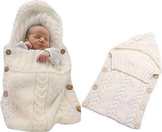 MiniGreen Baby Schlafsack Strick Kapuze Swaddle f/ür 0-12 Monat Neugeboren M/ädchen Jungen H/äkeln Kuscheldecke Strickdecke Gestrickte Babyschlafsack und Kinderwagen Haken Beige