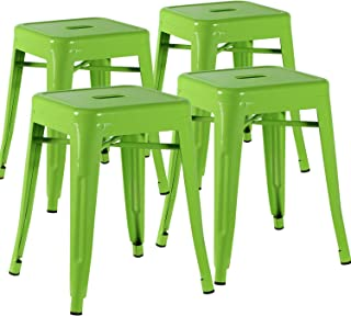 VECELO Metal Dining Chair / 18'' Stackable Indoor-Outdoor Counter/Bar Stools with Industrial Style, Set of 4 - Green