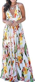 Women's Floral Bodycon Derss Elegant Sleeveless Party Long DressMaxi Party Dresses with Belt Sundress