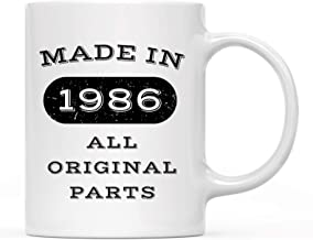 11 oz Birthday Milestone Coffee Mug, Made in 1986 All Original Parts, 30th, 31st, 32nd, 33rd, Birthday, Anniversary Mug