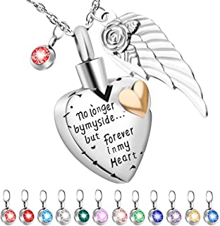 Dletay Heart Cremation Necklace for Ashes with 12 Birthstones Urn Necklace for Ashes-No Longer by My Side, But Forever in My Heart