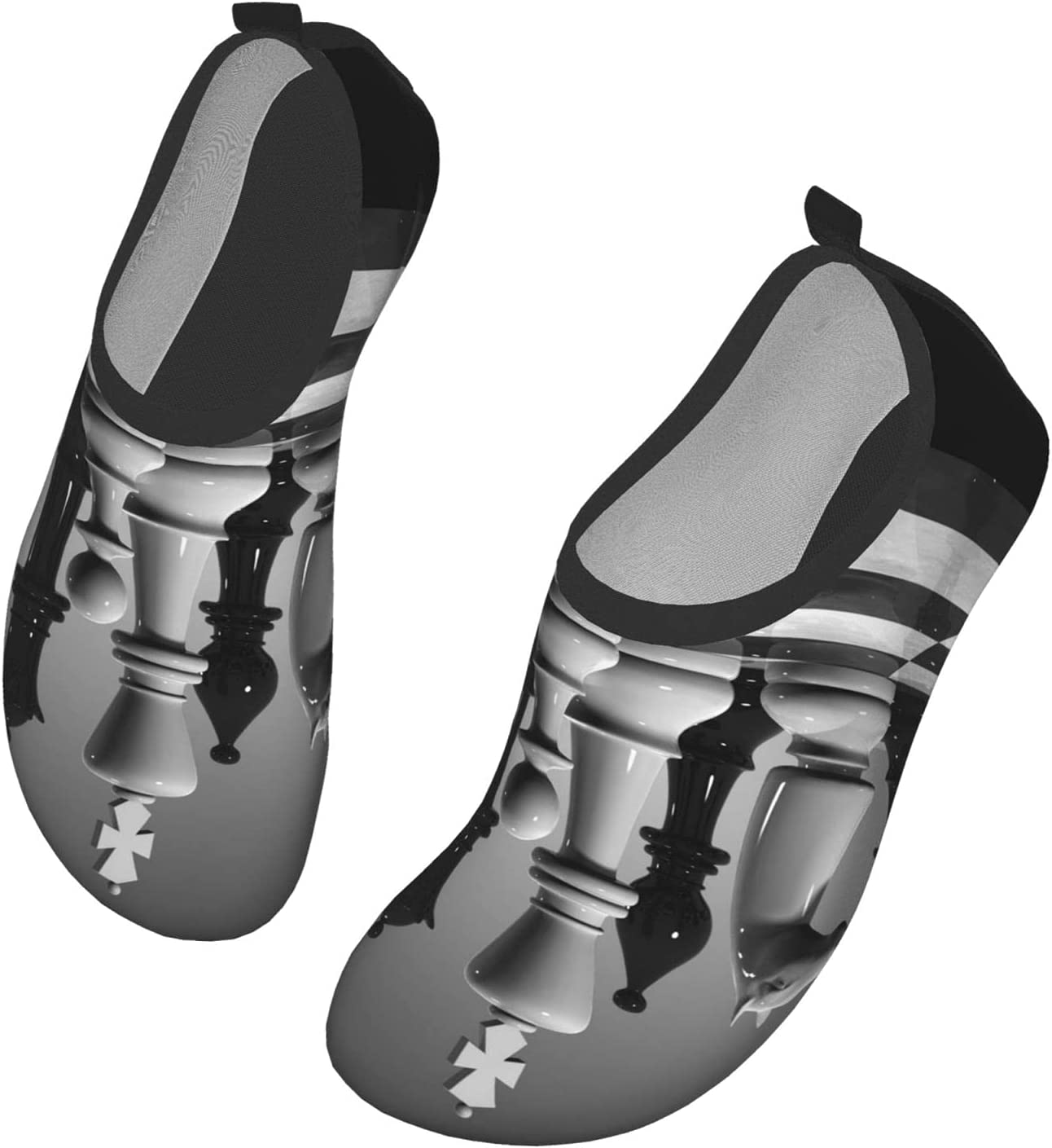 Womens Mens Summer Water Shoes Black and White World Chess Board Barefoot Shoe Quick Dry Aqua Socks