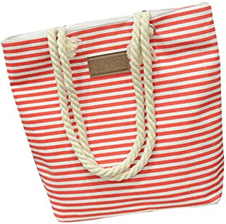 Wultia - Bags for Women 2019 Fashion Women Casual Stripe Print Canvas Handbag Ladies Single Shoulder Messenger Bag Bolsa Feminina Red