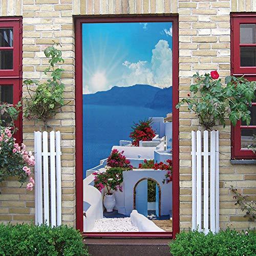 YJJYLMTEtiqueta engomada de la puerta del arte 3D Azul nubes blancas flores. 86 X 215cm PVC Decorativos para Puerta Pared Cocina Sala de Baño Sala de Estar Dormitorio Cocina decoración de Oficina