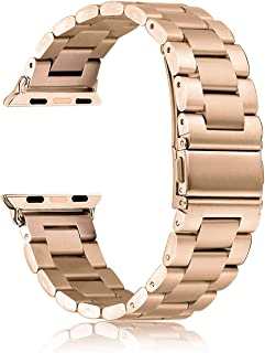 HILIMNY Compatible for Apple Watch Band 38mm 40mm, Classic Men Women Stainless Steel Metal iWatch Strap Replacement Wristbands for Apple Watch Series 1, 2, 3, 4, Light Gold