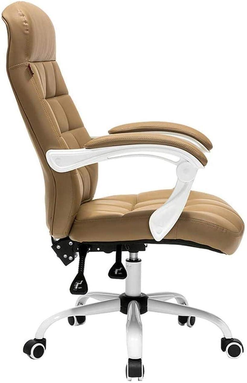 アーサー空白正当な事務用椅子 アームレスト付きの椅子のコンピュータチェア人間工学に基づいたオフィスのデスクチェア、リクライニングミッド戻る柔軟なスイベルタスクチェア高さ調節