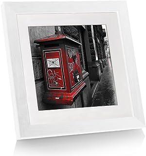 BOJIN フォトフレーム 20角 正方形 木製 スタンド付き フック付き 壁掛け兼用 アクリル板 軽量 額縁 ホワイト [並行輸入品]