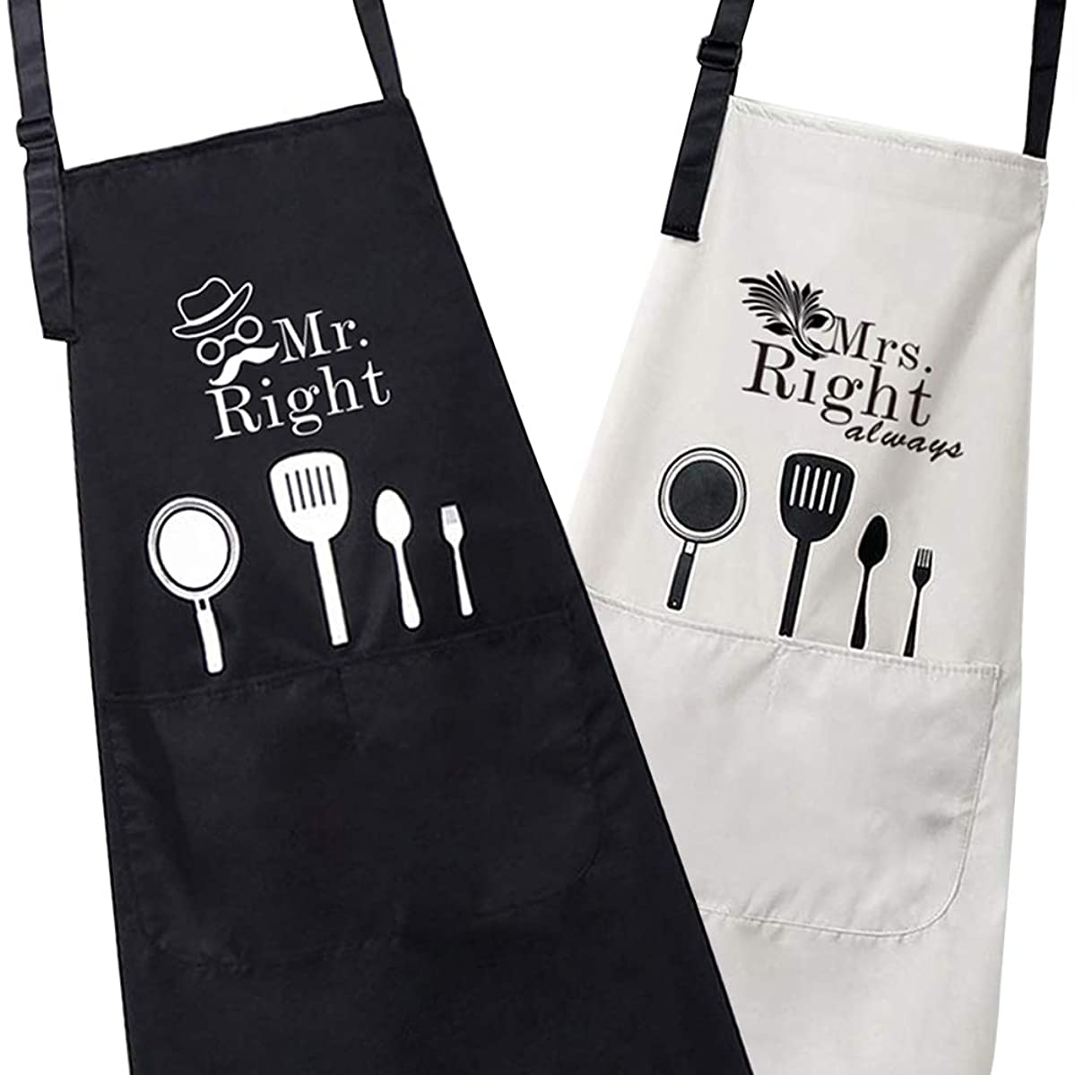 Prothoe 2 Pack Waterproof Kitchen Cooking Bib Aprons Set Funny Creative Mr. & Mrs. Right Engagement, Wedding Gifts for Couples