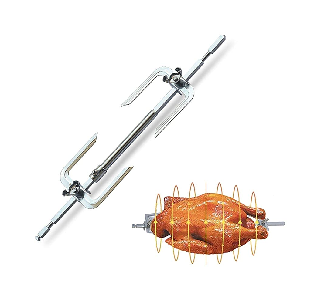 Barbecue Fork Stainless Steel BBQ Metal Oven Roasted Beef Turkey Rotisserie Forks Spit Charcoal Chicken Grill for Camping Cooking Tools,2