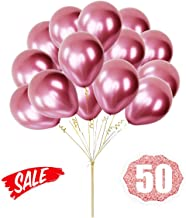 HoveBeaty Pink Balloons Chrome Shiny Metallic Latex 12 Inch Thicken Balloons 50 Pack for Wedding Party Baby Shower Christmas Birthday Carnival Party Decoration Supplies