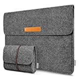 Inateck Custodia morbida tipo sleeve in feltro per laptop Macbook Air/Pro Retina 13.3 pollici/iPad Pro 12.9' Ultrabook Grigio Scuro