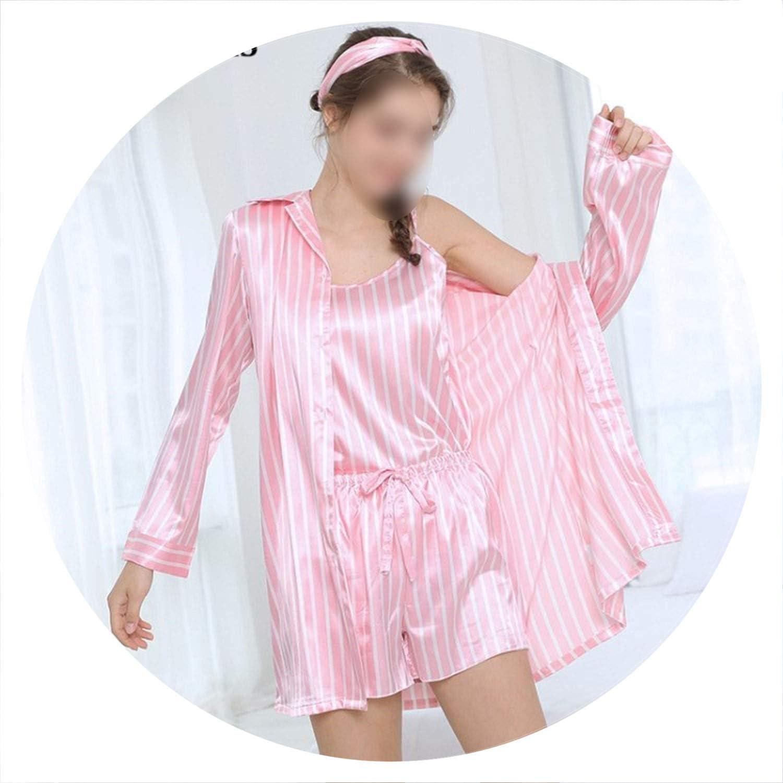 100Expectations Women's 7 Pieces Pink Pajamas Sets Satin Silk Lingerie Homewear Sleepwear Pyjamas Set Pajamas