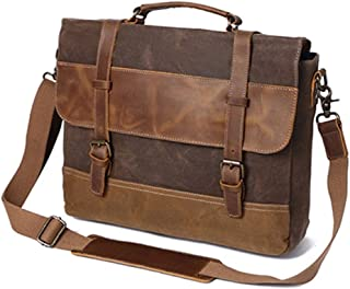 YIBEIANYU Vintage Men's Bag Oil Lac Canvas Bag Crazy Horse Leather Briefcase Europe and America Shoulder Messenger Bag (Color : Khaki)